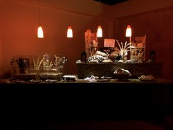 A bread area at the buffet.