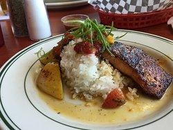 Blackened Silver Salmon with sticky rice