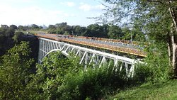 The iconic Victoria Falls Bridge wax built by people staying at the Victoria Falls Hotel and it'