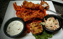 Beer battered fish and sweet potato fries..... excellent! Served with grilled lemon