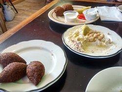 kibbeh, hummus, falafel (half-way through lunch)