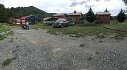 View of parking area in front of your cabins. Having a covered area for your bike was very nice!