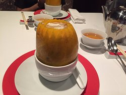 Double Boiled Crab Meat Soup with Bamboo Pith in Young Papaya