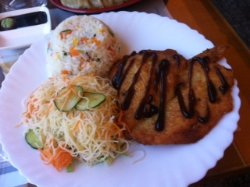 Chicken cutlets, fried rice and vermicele noodles