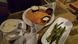 fried flounder with risotto and asparagus and spinach