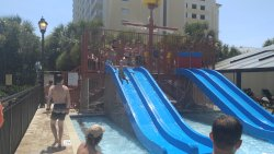 New water slides at the pirate ship