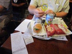 Chicken salad, lemonade and chips