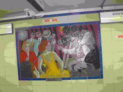 Alfred Hitchcock Mosaics -Leytonstone tube station