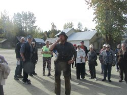 Our gold miner on guided tour of town