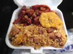 Boneless ribs and fried rice.