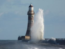 Roker lighthouse (located on one of the two piers)