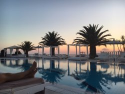 Sunset views from our pool chairs.