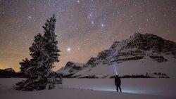 Night sky at Bow Lake