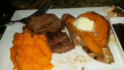 Kangaroo steak and sweet potatoes.