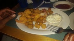 Fried shrimp and okra plus the broiled seafood platter