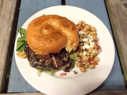 Black Bean Burger with marinated chick peas