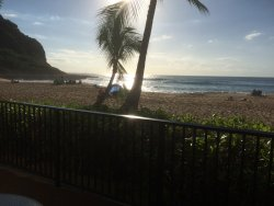 View from the lanai to the beach.