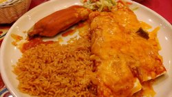 2 burritos tamale and rice