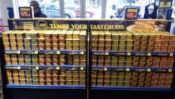 Back side of SPAM display for patrons to chose additional flavors.