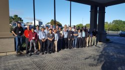 This is our group of engineers photographed at the hotel's entrance
