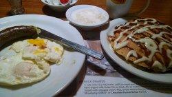 Mm. Southern Bilbo Baggins breakfast::pecan-cinnamon bun pancakes, hearty sausage, grits.
