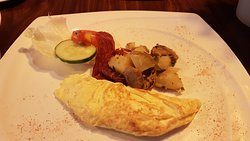 Simply a nice and tasty omelette & beef strip breakfast set