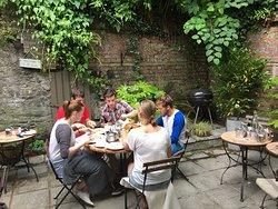 Enjoying lunch al fresco in our courtyard