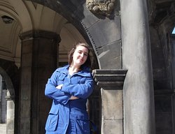 Tour guide Lia at the Mercat Cross