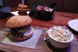 Disappointing burger: overcooked, densely-compressed meat that was hard to cut with a knife.