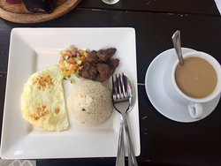 Their free breakfast, tapsilog. Good food. Their coffee is 3 in 1, not brewed.