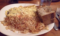 3-egg omelet, shredded hash browns, whole wheat toast