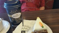 Carrot cake and large coffee
