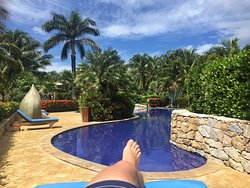 Enjoying a day poolside after completing 15 dives during the week.
