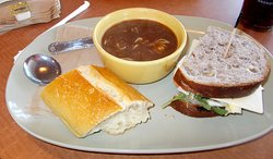 Chicken sandwich and onion soup