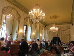 The well decorated interior of Gerbeaud Cafe'