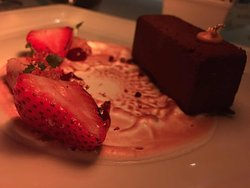 Dark Chocolate and Jamaican Pepper Mousse with Rhum and Strawberry