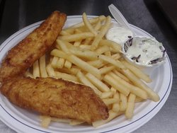 Our Cod Fish~n~ Chips. Two piece cod, fries, homemade coleslaw, tartar and lemon.
