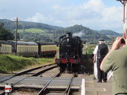 Train arriving at Blue Anchor