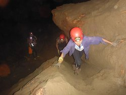 Climbing up muddy areas