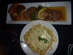 Veal with pasta and cream sauce