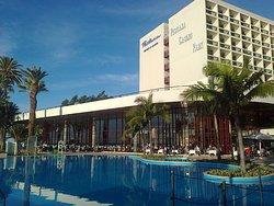 Hotel over pool from Dockside Restaurant