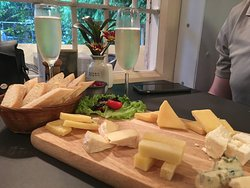 cheese, baguette and prosecco