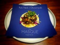 Pork neck on okonomiyaki