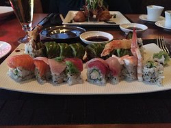 Dragon Roll and Rainbow Roll, double wasabi order