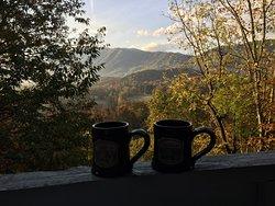 Coffee on the balcony.