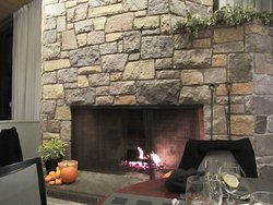 This fireplace is in the Solomon Dining room and it is visible from any seat in the room.