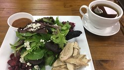 Chicken salad and peppermint tea