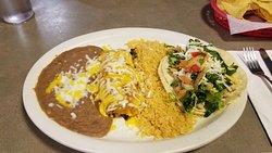 enchilada, soft taco, rice & beans