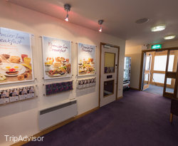 Lobby at the Premier Inn Cambridge North (Girton) Hotel