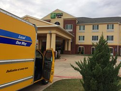 Holiday Inn Express Childress--our truck parked outside the Hotel : ready to leave after night h
